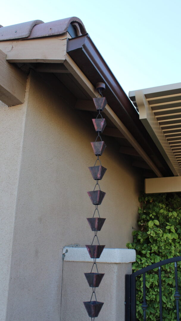 Solid Copper Gutter and Rain Chain