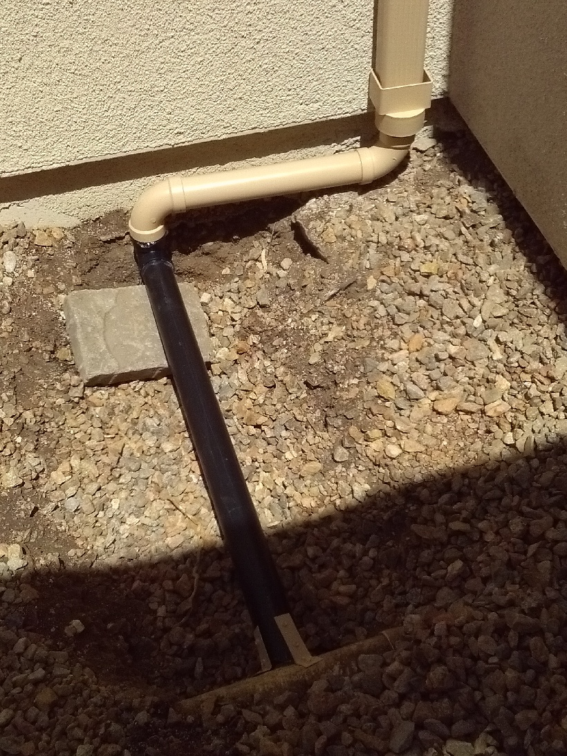 Downspout into 4 inch drain - Another Square to Round and a Downspout going into a 4 inch Drain Line